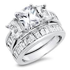 wedding ring sets for women sterling silver radiant cut cubic zirconia women s