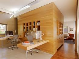 harmonious two person desk home office with square glass wall and