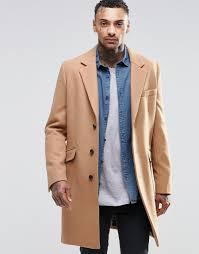 asos wool mix overcoat in camel in brown for men lyst
