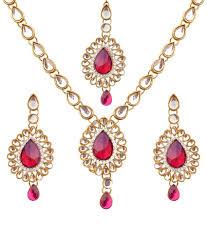 golden girl necklace images Dancing girl pink golden necklace set with maang tika buy jpg
