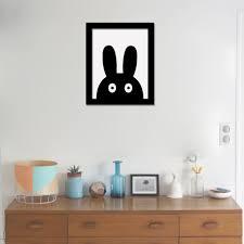 modern minimalist nordic black white kawaii animals a4 large art