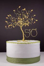 50th wedding anniversary cake toppers 50th anniversary cake topper gold tree sculpture 50 anniversary