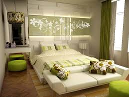 chic womens bedroom idea with decorative led wall and futon