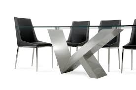 Stainless Steel Dining Room Tables by Modrest Harlow Modern Glass U0026 Stainless Steel Dining Table