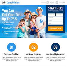 landing page design for credit card debt debt relief and debt