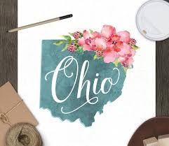 ohio art print state watercolor floral typography wall