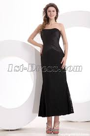 sweetheart simple tea length black lace mother of groom dress 1st