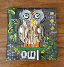 that artist woman owl assemblage