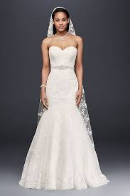 white wedding dress sweetheart trumpet wedding dress with beaded sash david s bridal