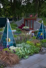 modern solar blue garden lights for evening garden plant