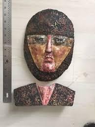 mardi gras ceramic masks vintage made paint original 2 pc mardi gras ceramic mask wall