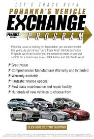 lexus used car finance deals pohanka vehicle exchange program pohanka lexus