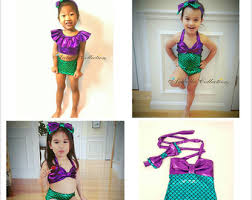 Mermaid Halloween Costume Toddler Girls U0027 Swimwear Etsy
