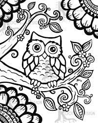 instant download coloring cute owl zentangle inspired