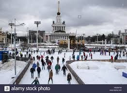 moscow russia 2nd jan 2017 people at an outdoor ice skating