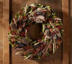 turkey feather wreath live turkey pheasant wreath mantle pottery barn