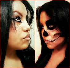 100 halloween half face paint ideas dead face makeup sugar
