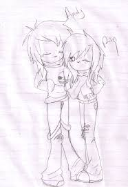 cute emo couple sketch by helen rubith on deviantart