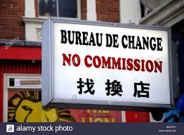 commission bureau de change uk bureau de change in chinatown stock photo