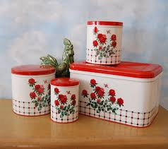 Red Kitchen Canisters Set by Vintage Nc Colorware Canisters U0026 Bread Box In Red Clover And Bee