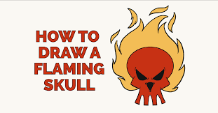how to draw a flaming skull really easy drawing tutorial