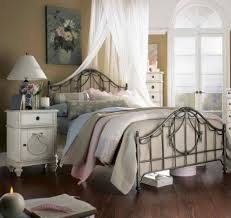 White Vintage Style Bedroom Furniture Bedroom Metal Bed Frame In Vintage Style Also White Nightstands