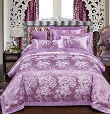 Jacquard Bed Set Luxury Purple Bedding Set Uropean Embroidered Floral Satin