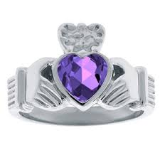 white gold and purple wedding amethyst birthstone heart claddagh symbol men s wedding ring