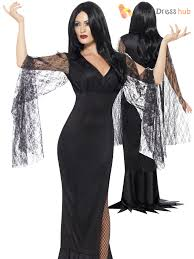 ladies morticia vampire costume womens halloween long witch fancy