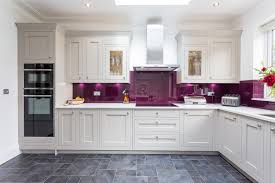 Closed Kitchen Second Nature Milton In Frame Kitchen In Stone With Bold Aubergine