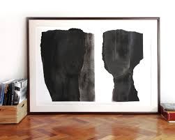 oversized abstract modern art black and white extra large