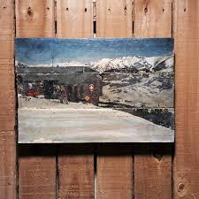 mountains ski patrol photo on wood mountain wall