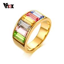 color stone rings images Vnox rainbow color stone rings for women gold color cocktail rings jpg