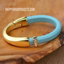 gold clasp leather bracelet images Gold leather curved clasp bracelet happy hour projects jpg