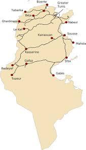 map of tunisia with cities railway map of tunisia tunisian railways sncft société des