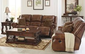 Brown Leather Recliner Sofa Set Benchcraft Leather Rustic Sofas