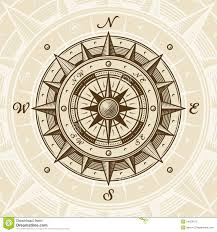 Nautical Map Tattoo Old Compass Rose Vintage Compass In Woodcut Style Vector