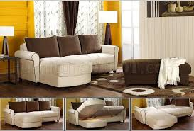 beige fabric small sectional w storage u0026 optional brown ottoman