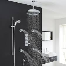 brass valquest thermostatic shower system by hudson reed