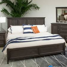 Magnussen Harrison Bedroom Furniture by Mill River Wood Panel Bed In Weathered Charcoal Humble Abode