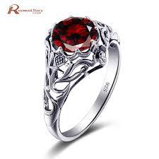 real crystal rings images Bride wedding rings vintage red crystal real 925 silver rings for jpg