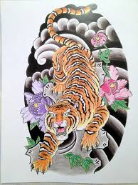 color flowers and tiger design