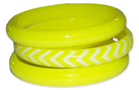3 pack neon colored bracelet bangles w zig zag accent 1980s