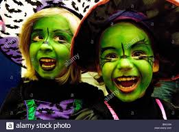 kids in fancy dress for halloween bedfont middlesex uk stock