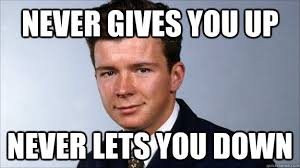 Never Gonna Give You Up Meme - awesome rick astley never gonna give you up testing testing