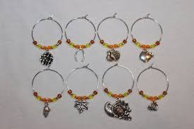 thanksgiving wine charms set of 8 thanksgiving charms pumpkin