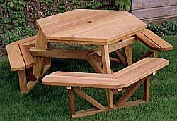 Free Woodworking Plans Hexagon Picnic Table by Outdoor Plans Hexagon Picnic Table Plan Workshop Supply
