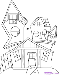 7 how to draw a spooky cartoon house