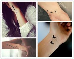 2014 black flying birds watercolor tattoo design on wrist for