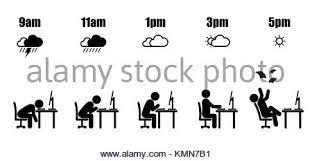 les heures de bureau résumé les heures de cycle de vie de 9 h à 5 h concept dans black